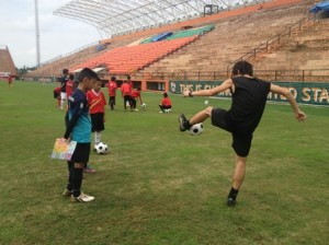 children got football training from former professional players