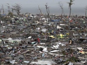Destroyed houses lie in Tacloban city, Leyte province central Philippines