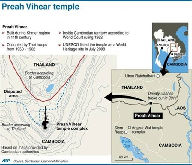 Graphic on the Preah Vihear temple on the border between Thailand and Cambodia.