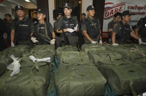 (Sakchai Lalit/Associated Press) - Thai policemen guard packages containing more than 4 million methamphetamine tablets seized in the northern province of Chiang Rai prior to a press conference at Police headquarters in Bangkok, Thailand, Friday, March. 2, 2012. The seizure was one of the biggest ever of the illegal drug, believed to have been produced in neighboring Myanmar, according to a local report.
