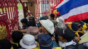 The protesters gained access to the Royal Thai Army compound