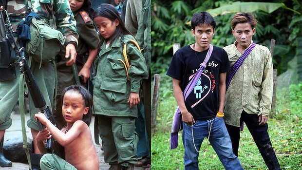 Then and now: Luther Htoo, left, and his brother Johnny at their jungle camp in 1999 and 14 years later. Photo: AP