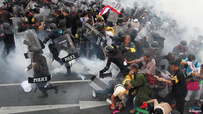 Thai police have used tear gas on anti-government protesters in the capital