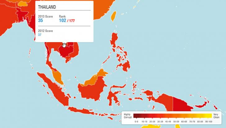 Thailand was ranked 16th out of 28 countries in the Asia-Pacific region with Singapore obtaining the highest score of 86.
