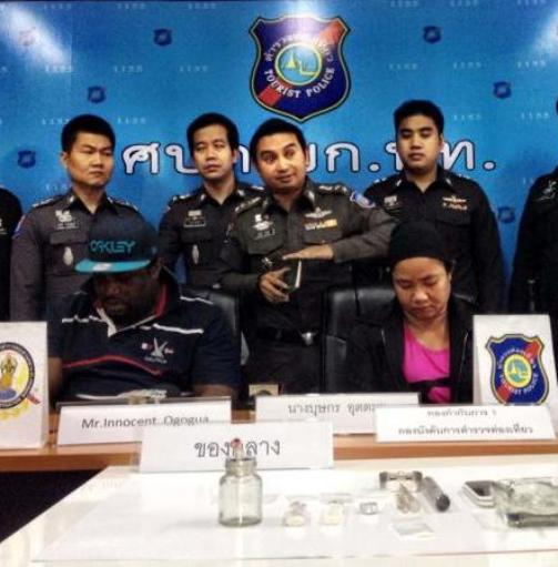 Innocent Ogogua, 39, was arrested on Wednesday night along with Thai woman Budsakorn Uttama, 37, at a hotel room in the Soi Sukhumvit 3 (Nana) area.