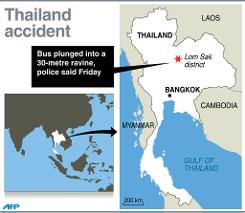 Map locating Lom Sak district in Thailand where at least 29 people were killed in a bus crash