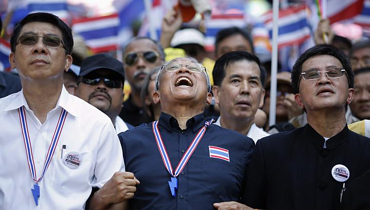 Mr Suthep Thaugsuban (centre), a former deputy prime minister