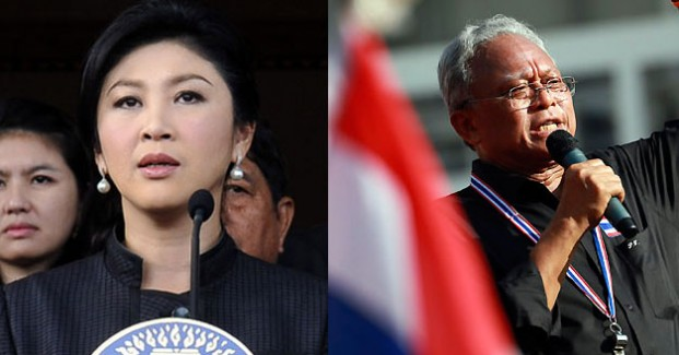 Thailand Prime Minister Yingluck Shinawatra, left, and anti-government protest leader Suthep Thaugsuban