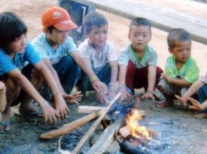 hilltribes children who have inadequate winter gear despite living high up in the mountains