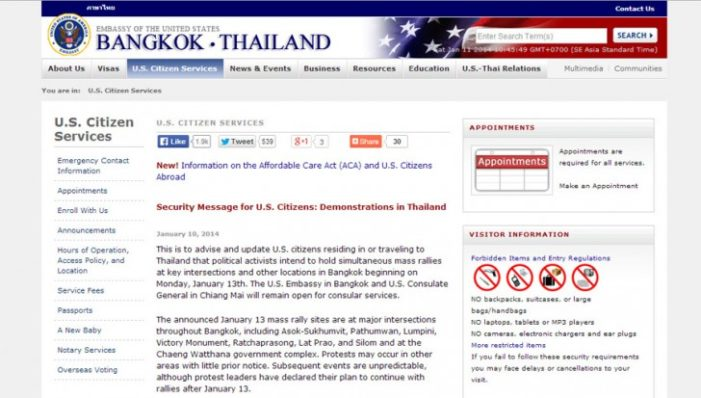 US Embassy Issues Warning for US Citizens in Thailand