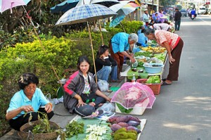 Food vendors line the streets in Chiang Khong