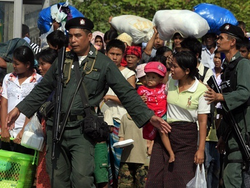 Police detained 531 men, women and children in Sunday's raid at a camp near the town of Sadao