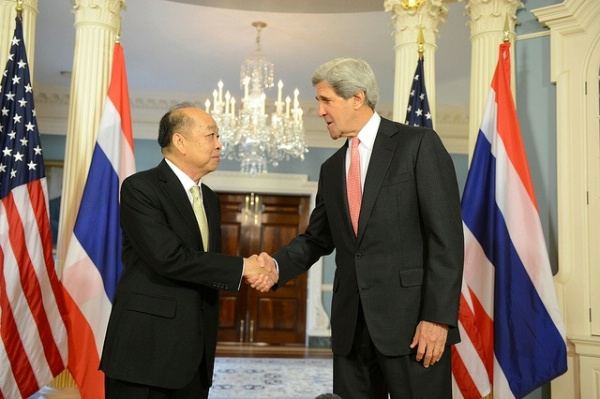 Secretary of State John Kerry meets with now caretaker Thai Foreign Affairs Minister Dr. Surapong Tovichakchaikul at the Department of State in Washington, DC, on May 6m 2013