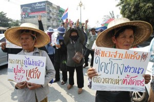 Farmers take part in a rally demanding the Yingluck administration resolve delays in payment from the rice pledging scheme, outside the Commerce Ministry