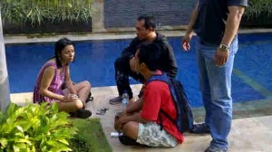 New Zealander Leeza Tracey Ormsby pictured during her arrest at a villa in Bali.
