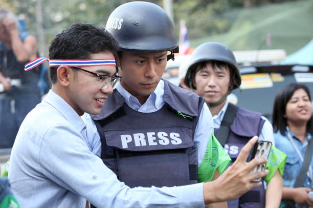 Enami came to Thailand to interview anti-government protest leader Suthep Thaugsuban