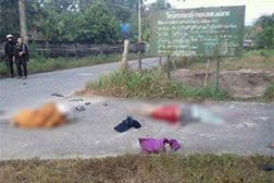 A monk and three civilians were shot dead and a policeman and five other civilians wounded in a drive-by shooting in Pattani Please credit and share this article with others using this link:http://www.bangkokpost.com/news/security/394848/murders-in-pattani-draw-condemnation. View our policies at http://goo.gl/9HgTd and http://goo.gl/ou6Ip. © Post Publishing PCL. All rights reserved.