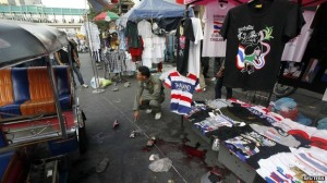 The blast in Bangkok left a pool of blood on the pavement