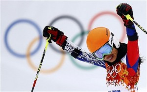 Vanessa Mae celebrates after crossing the finish line