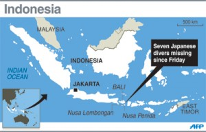 Indonesian rescuers on Sunday resumed their search for seven Japanese scuba divers