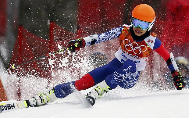 Vanessa-Mae was the slowest competitior in the giant slalom