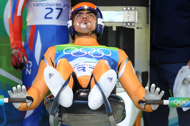 Shiva Keshavan prepares to take the start of the men's luge singles run 3 on February 14, 2010 in Vancouver, Canada. (Oliver Lang/AFP/Getty Images)