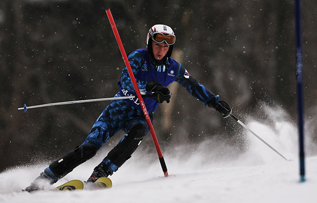 Mir Nawaz Khan leaves snow in his wake at the sixth Asian Winter Games at Jilin Beida Lake Skiing Site February 3, 2007 in Changchun, China. (Adam Pretty/Getty Images)