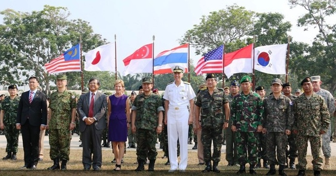 Ambassadors and representatives from participating countries officiating at the opening ceremony of Exercise Cobra Gold 2014.