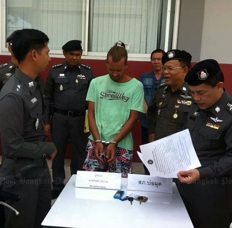 Police on Koh Samui have arrested a cash-strapped Ukrainian man for stealing a rented motorcycle from a Russian national and demanding a ransom for the stolen bike. (Photo by Supapong Chaolan)