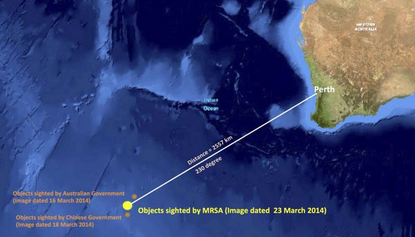 This graphic released by the Malaysian Remote Sensing Agency on Wednesday shows the approximate position of 122 objects seen floating in the southern Indian Ocean in the search zone for the missing Malaysia Airlines flight MH370.
