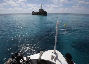 A dilapidated Philippine Navy ship with Philippine troops anchored off Second Thomas Shoal,
