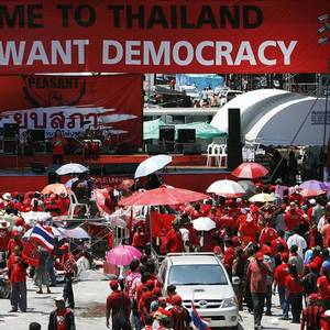 "Elements of Thailand's pro-government ""red-shirt"" movement now openly talking about an armed rebellion"