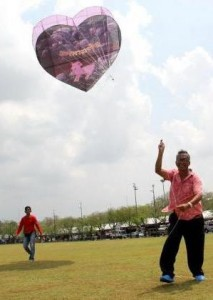 Organizers plan to give away 232 heart-shaped kites during the three-day celebration