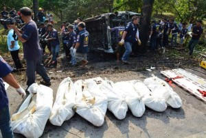 Nine Cambodians were killed Friday when a mini-bus carrying migrant workers returning home for the Buddhist New Year crashed and burst into flames in eastern Thailand