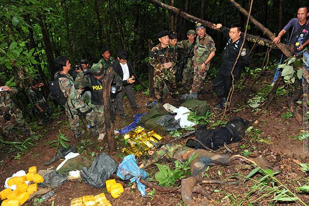 When we cleared the clash site we found seven men shot dead and we seized six bags of methamphetamine