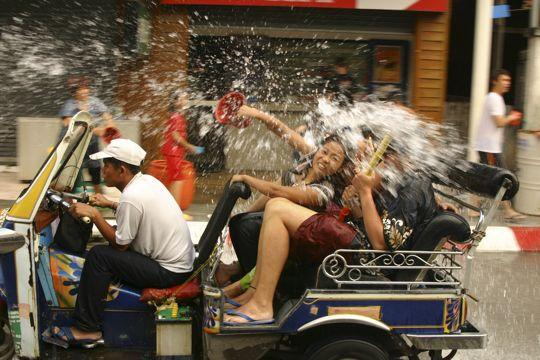 As it's hot, and clothes are likely to get ruined by sustained water and talc attacks