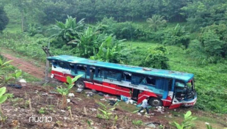 The uncontrolled bus ran down 500 metres and rammed at power poles before overturning and falling into the roadside ravine.