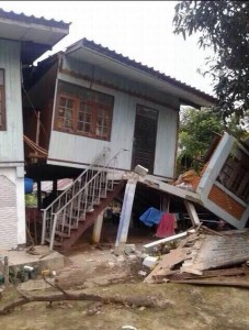 A house damaged in Phan district of Chiang Rai after earthquake hit the area - Photo Richard Barrow Twitter