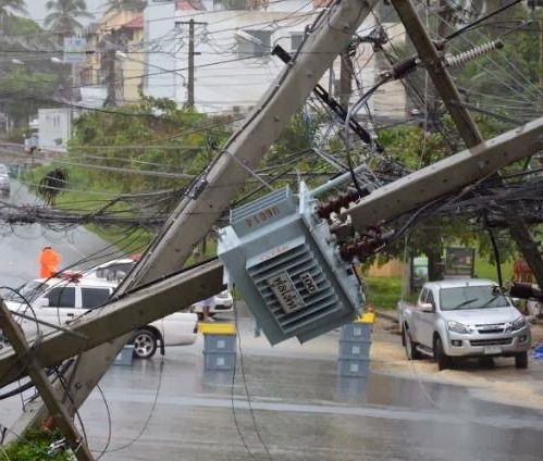 10 power poles that collapsed on Tuesday during heavy storm that swept the province