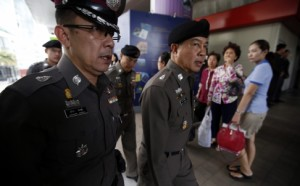 Thai police and military patrol railway stations and shopping centres in Bangkok.