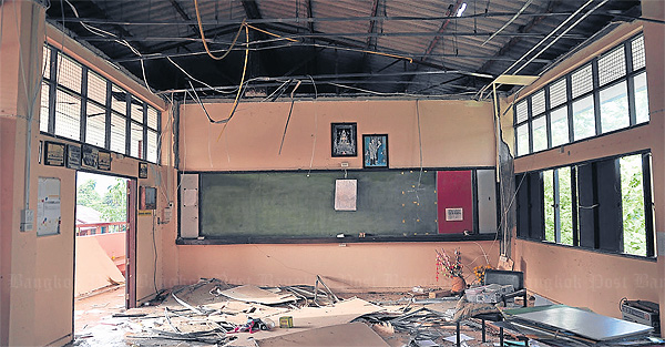 A classroom at Pong Phrae Witthaya after the earthquake struck in May.