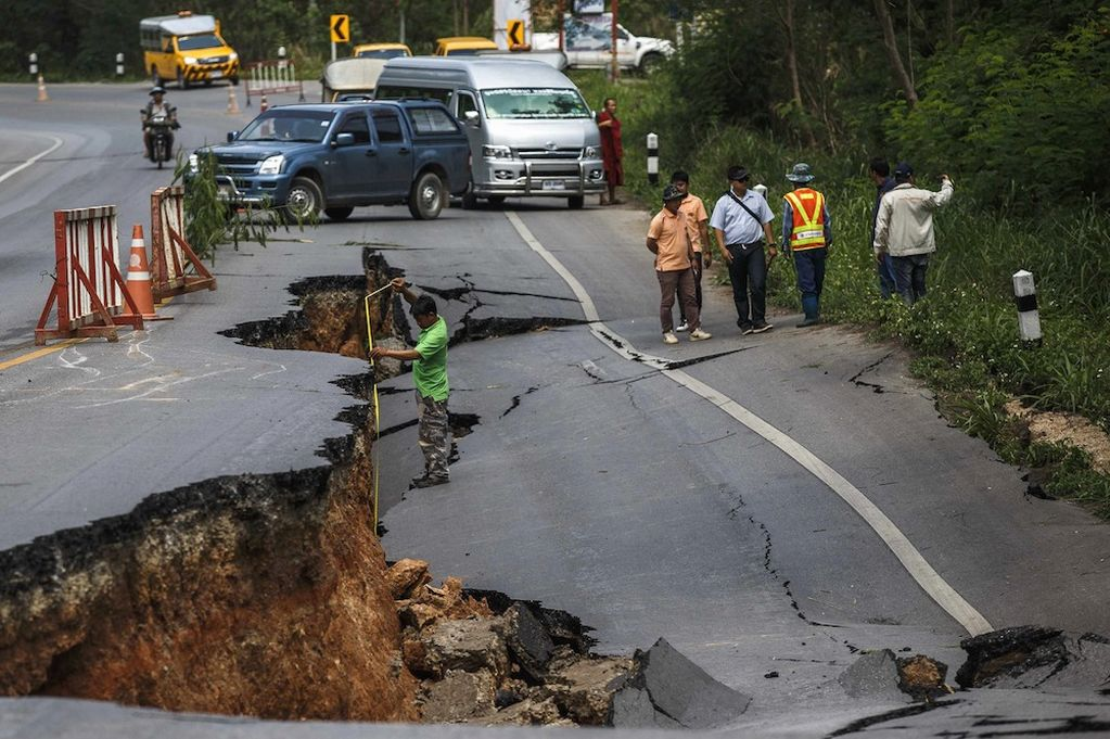 Road Destroyed by May 16th Earthquake in Chiang Rai