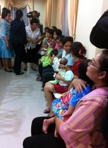 Nannies hold some of the nine babies alleged to be the surrogate children of one Japanese man, after a police raid at a Bangkok apartment. Read more: http://www.smh.com.au/world/dreams-of-children-shattered-as-thailand-closes-all-ivf-centre-20140809-102a62.html#ixzz39tthXPMF
