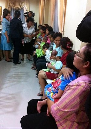 Nannies hold some of the nine babies alleged to be the surrogate children of one Japanese man, Shigeta Mitsutoki. Read more: http://www.smh.com.au/world/alleged-trafficker-fathered-15-babies-through-11-surrogate-mothers-in-thailand-20140813-103i20.html#ixzz3AHItXKP5