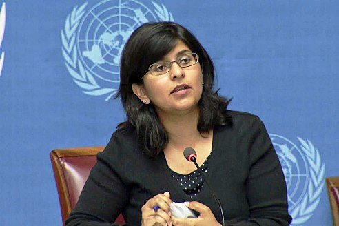 Ravina Shamsadani, Spokesperson for the Office of the UN High Commissioner for Human Rights, speaks out on issues covering human rights and freedom of expression. Image: UN Multimedia
