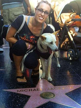 Joanna Sherwell sightseeing in America with Thailand adopted dog Sunny.