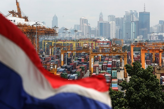 Stacks of containers at the Port of Bangkok in Thailand, which reported a decline in exports in July.