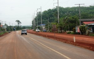 Road widening construction on Thailand's R3 in Chiang Rai province