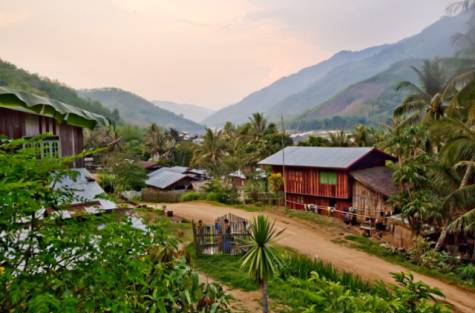 Talan, a village along the Mekong River in northern Laos. The odd behaviour of the Mekong endangers many such hamlets