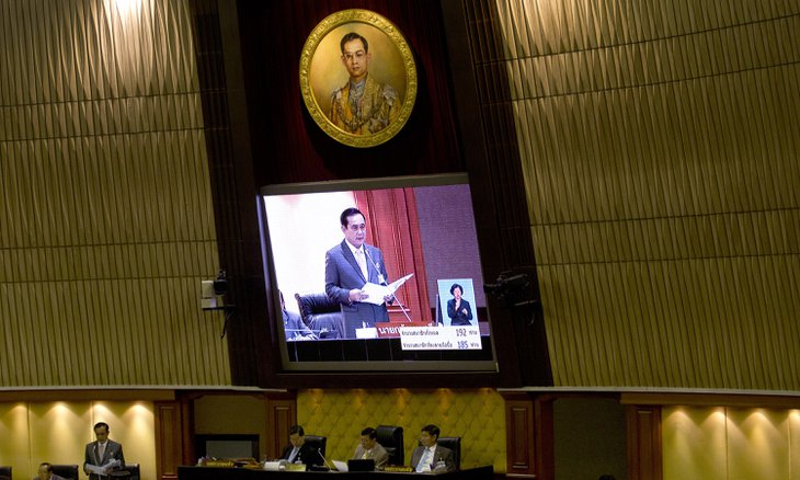 Thailand's Prime Minister Prayuth Chan-ocha delivers his government's policy statement at parliament in Bangkok